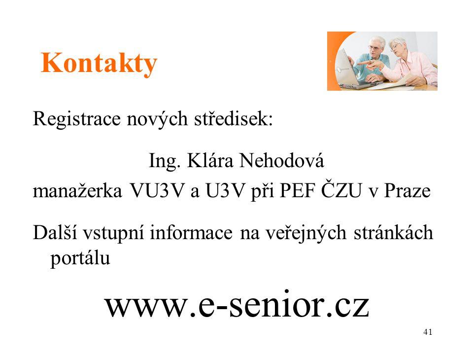 Kontakty Registrace nových středisek: Ing.