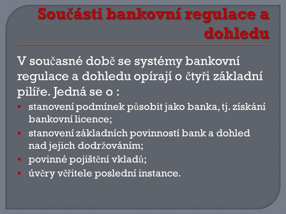 V sou č asné dob ě se systémy bankovní regulace a dohledu opírají o č ty ř i základní pilí ř e.