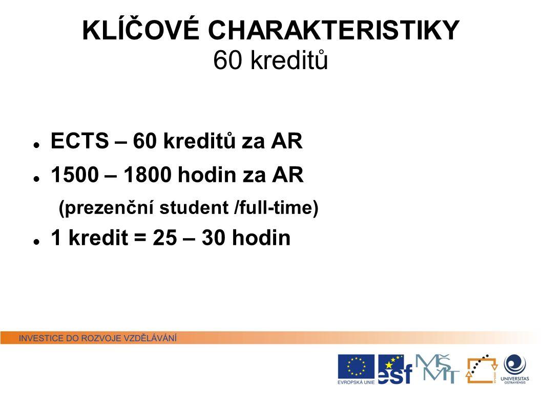 KLÍČOVÉ CHARAKTERISTIKY 60 kreditů ECTS – 60 kreditů za AR 1500 – 1800 hodin za AR (prezenční student /full-time) 1 kredit = 25 – 30 hodin