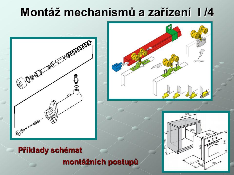 Montáž mechanismů a zařízení I /4 Příklady schémat montážních postupů