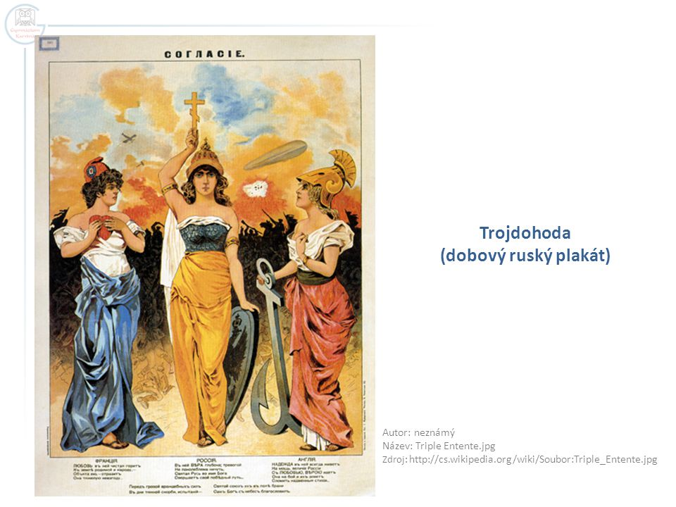 Trojdohoda (dobový ruský plakát) Autor: neznámý Název: Triple Entente.jpg Zdroj: http://cs.wikipedia.org/wiki/Soubor:Triple_Entente.jpg