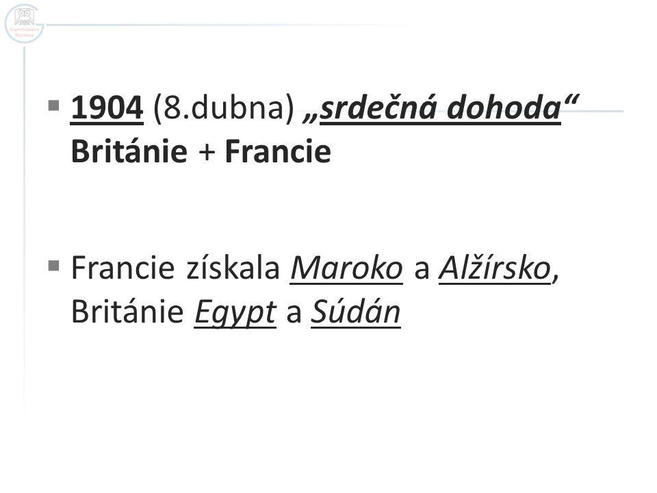 """ 1904 (8.dubna) """"srdečná dohoda"""" Británie + Francie  Francie získala Maroko a Alžírsko, Británie Egypt a Súdán"""