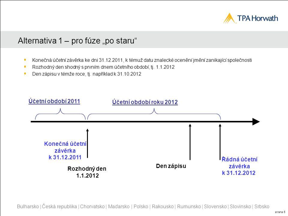 Bulharsko | Česká republika | Chorvatsko | Maďarsko | Polsko | Rakousko | Rumunsko | Slovensko | Slovinsko | Srbsko strana 6 Alternativa 1 – pro fúze