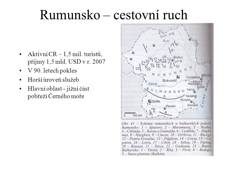 Rumunsko – cestovní ruch Aktivní CR – 1,5 mil. turistů, příjmy 1,5 mld. USD v r. 2007 V 90. letech pokles Horší úroveň služeb Hlavní oblast - jižní čá