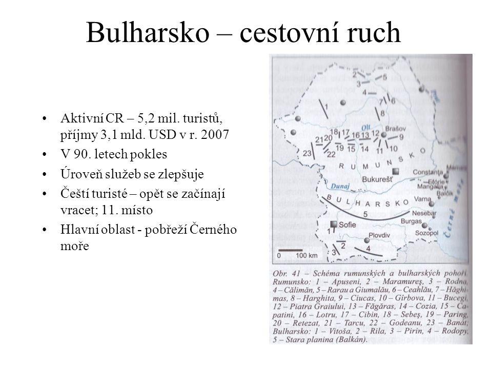 Bulharsko – cestovní ruch Aktivní CR – 5,2 mil. turistů, příjmy 3,1 mld. USD v r. 2007 V 90. letech pokles Úroveň služeb se zlepšuje Čeští turisté – o