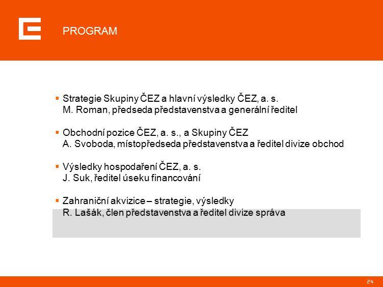 24  Strategie Skupiny ČEZ a hlavní výsledky ČEZ, a.
