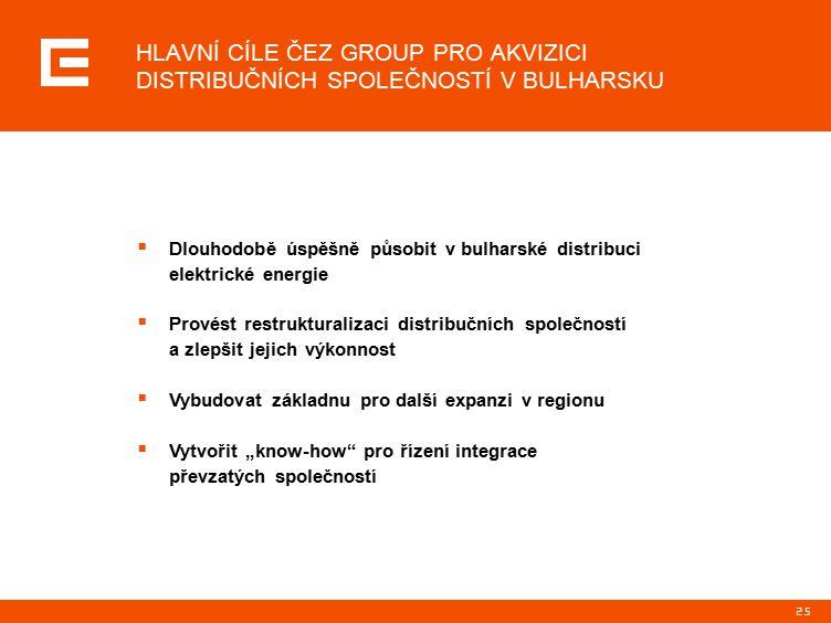 """25 HLAVNÍ CÍLE ČEZ GROUP PRO AKVIZICI DISTRIBUČNÍCH SPOLEČNOSTÍ V BULHARSKU  Dlouhodobě úspěšně působit v bulharské distribuci elektrické energie  Provést restrukturalizaci distribučních společností a zlepšit jejich výkonnost  Vybudovat základnu pro další expanzi v regionu  Vytvořit """"know-how pro řízení integrace převzatých společností"""