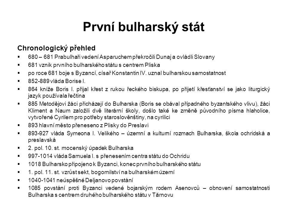 První bulharský stát Chronologický přehled  680 – 681 Prabulhaři vedení Asparuchem překročili Dunaj a ovládli Slovany  681 vznik prvního bulharského státu s centrem Pliska  po roce 681 boje s Byzancí, císař Konstantin IV.