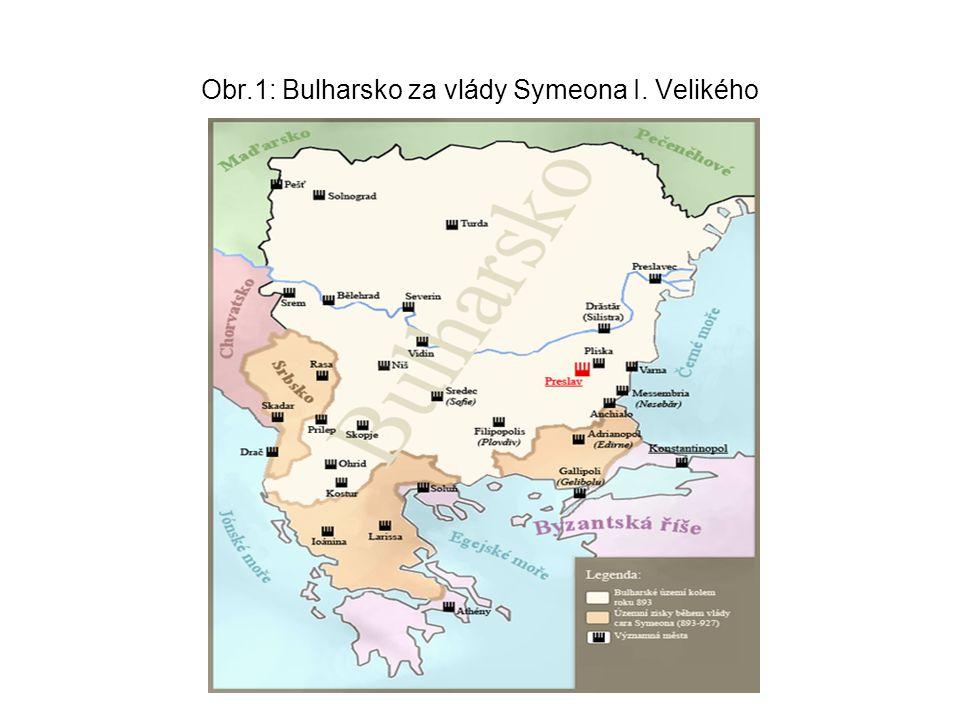 Obr.1: Bulharsko za vlády Symeona I. Velikého