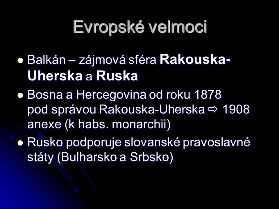 Evropské velmoci Balkán – zájmová sféra Rakouska- Uherska a Ruska Balkán – zájmová sféra Rakouska- Uherska a Ruska Bosna a Hercegovina od roku 1878 pod správou Rakouska-Uherska  1908 anexe (k habs.