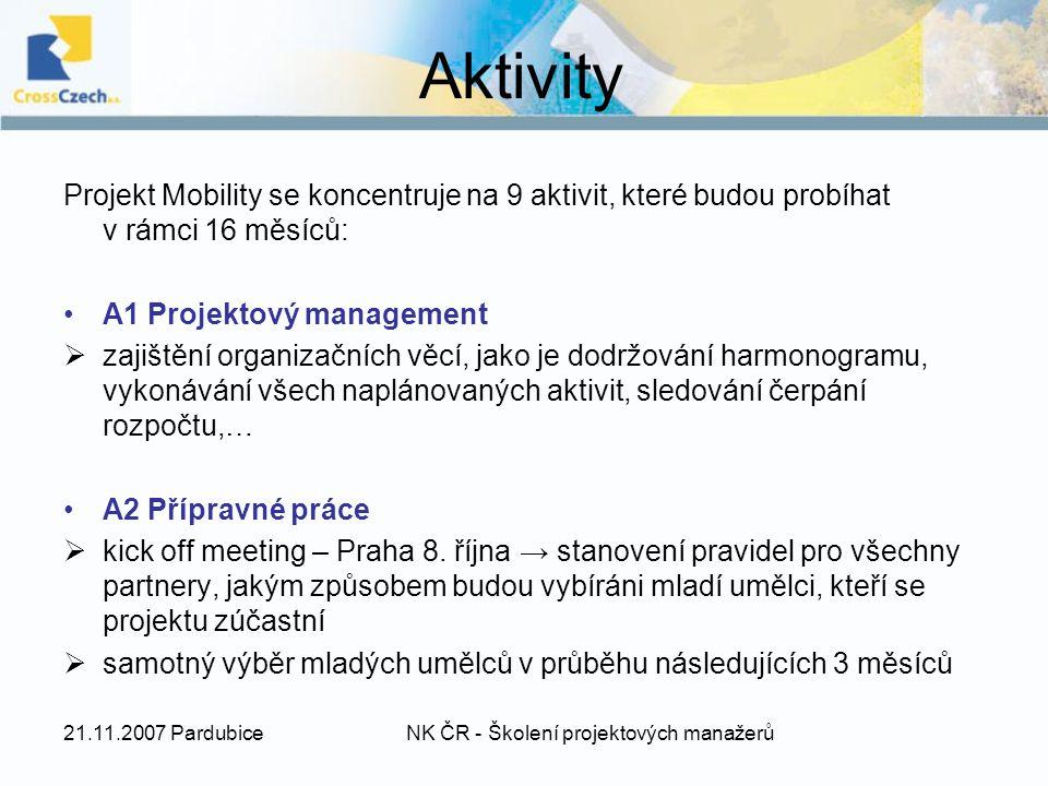 Aktivity Projekt Mobility se koncentruje na 9 aktivit, které budou probíhat v rámci 16 měsíců: A1 Projektový management  zajištění organizačních věcí, jako je dodržování harmonogramu, vykonávání všech naplánovaných aktivit, sledování čerpání rozpočtu,… A2 Přípravné práce  kick off meeting – Praha 8.