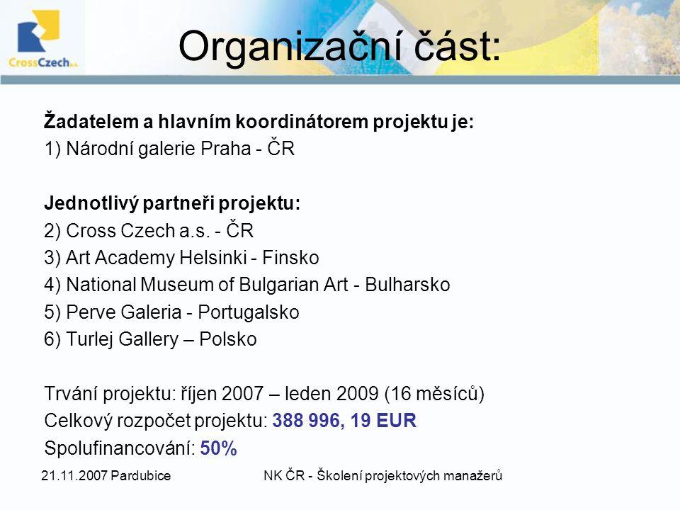 Organizační část: Žadatelem a hlavním koordinátorem projektu je: 1) Národní galerie Praha - ČR Jednotlivý partneři projektu: 2) Cross Czech a.s.