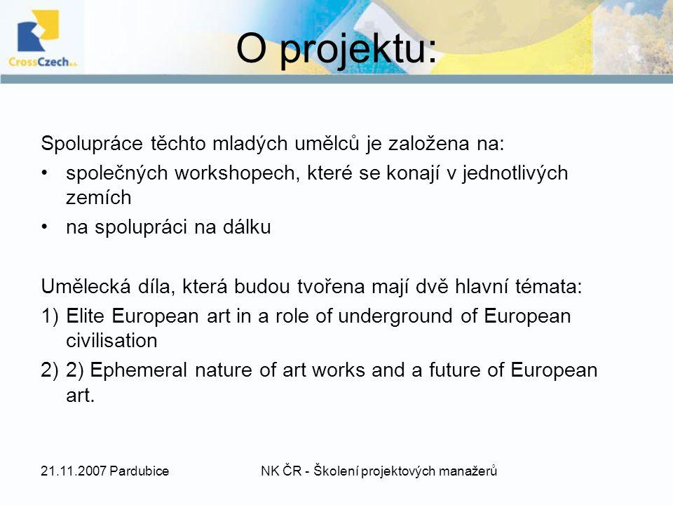 O projektu: Spolupráce těchto mladých umělců je založena na: společných workshopech, které se konají v jednotlivých zemích na spolupráci na dálku Umělecká díla, která budou tvořena mají dvě hlavní témata: 1)Elite European art in a role of underground of European civilisation 2)2) Ephemeral nature of art works and a future of European art.