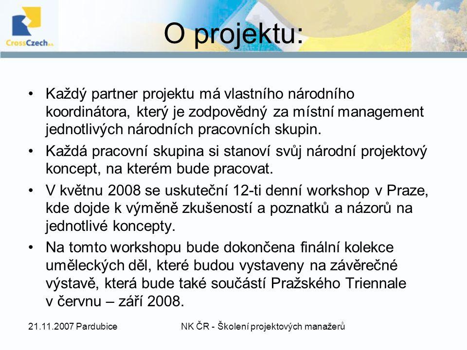O projektu: Každý partner projektu má vlastního národního koordinátora, který je zodpovědný za místní management jednotlivých národních pracovních skupin.