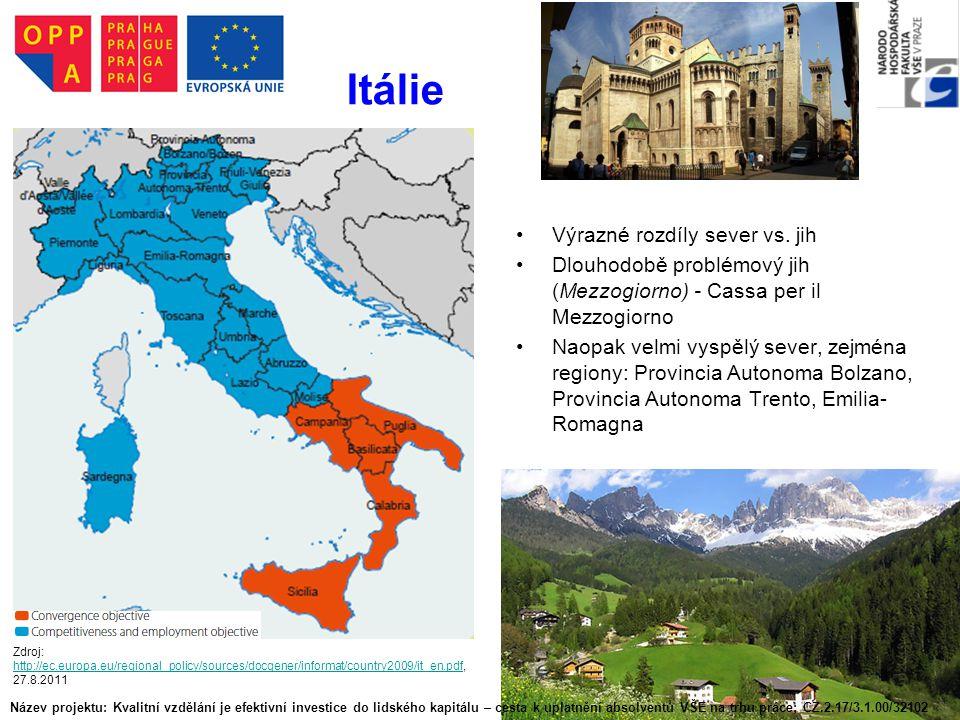Itálie Výrazné rozdíly sever vs. jih Dlouhodobě problémový jih (Mezzogiorno) - Cassa per il Mezzogiorno Naopak velmi vyspělý sever, zejména regiony: P