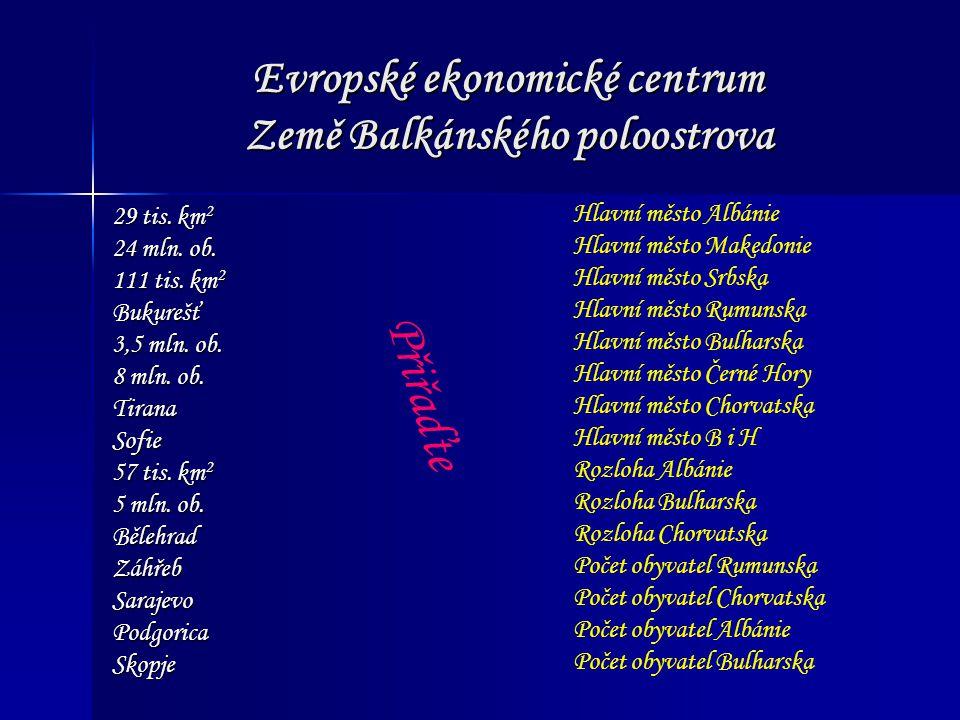 Evropské ekonomické centrum Země Balkánského poloostrova Fyzicko-geografická charakteristika Reliéf Třetihorní horská pásma (Julské Alpy, Dinárská s., Karpaty, Rila…) Nížiny (Podunajská, Valašská, Hornotrácká) Plošiny (Dobrudža ) Podnebí Kontinentální x místní (nadmořská výška) x středomořské (Jadran, Černé moře)