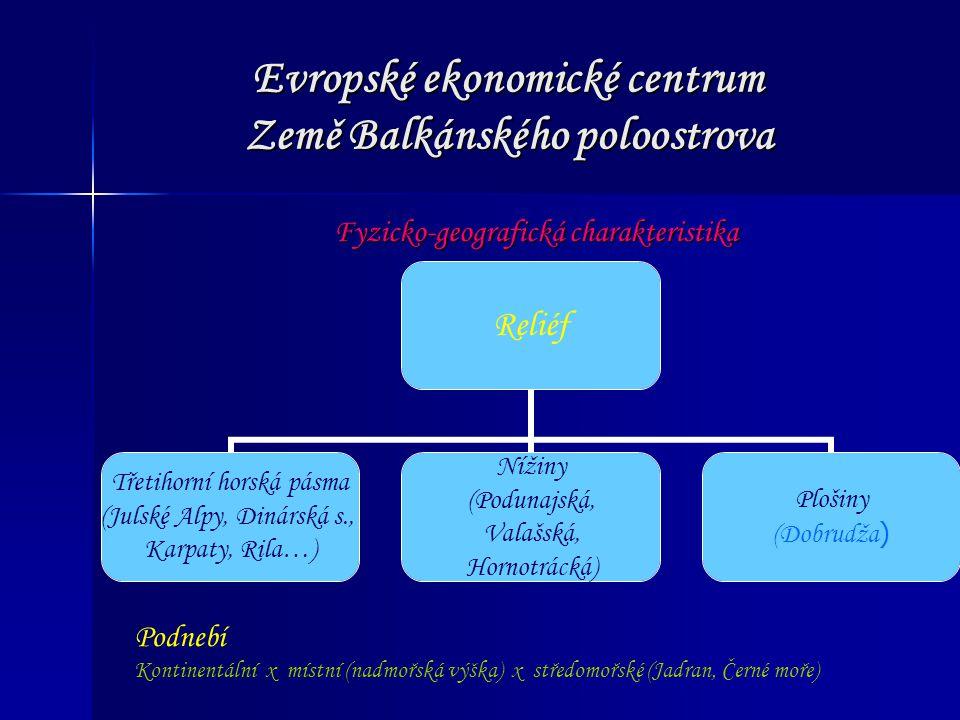 Evropské ekonomické centrum Země Balkánského poloostrova Fyzicko-geografická charakteristika Reliéf Třetihorní horská pásma (Julské Alpy, Dinárská s.,