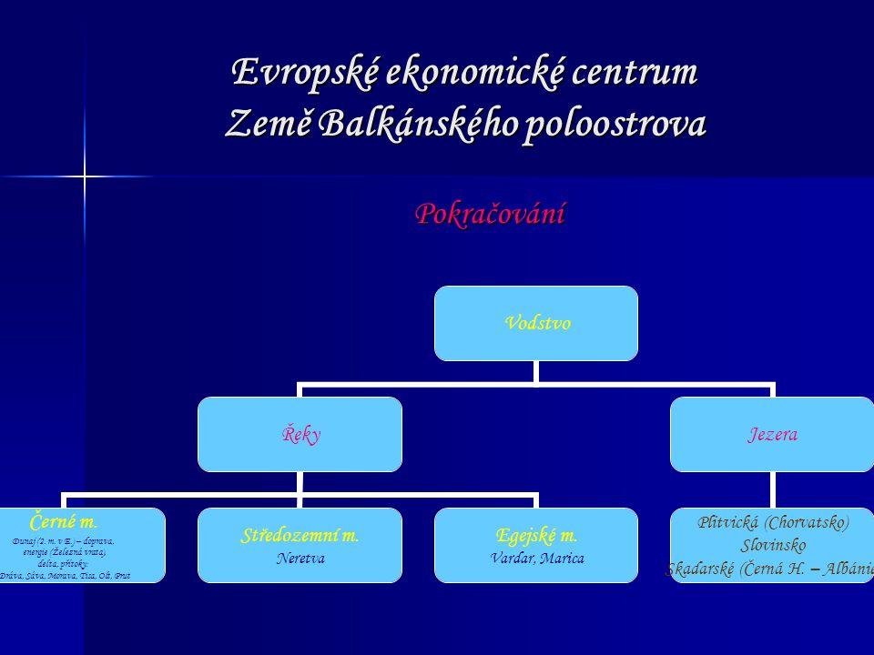 Evropské ekonomické centrum Země Balkánského poloostrova Pokračování Vodstvo Řeky Černé m. Dunaj (2. m. v E.) – doprava, energie (Železná vrata), delt