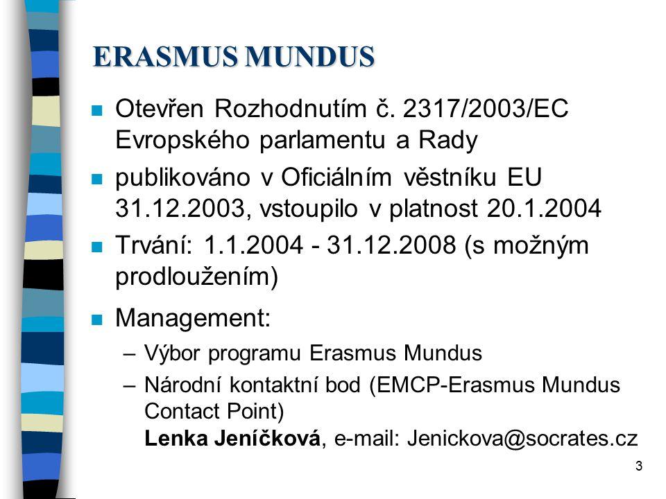 """4 ERASMUS MUNDUS n Účastnické země: –EU - 25 zemí –ESVO - Norsko, Island, Lichtenštejnsko –kandidátské země - Bulharsko, Rumunsko, Turecko –""""třetí země n Rozpočet: 230 mil."""
