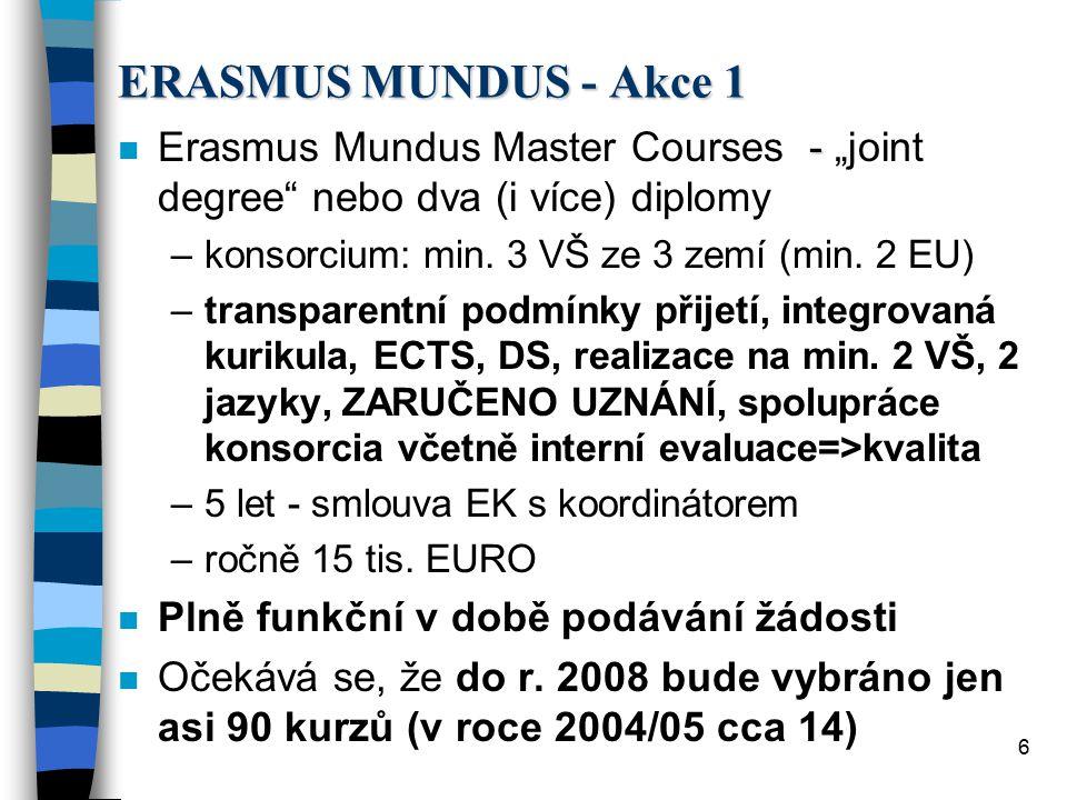 7 ERASMUS MUNDUS - Akce 2 n Stipendia - přímo příjemci - studenti a učitelé ze třetích zemí - udělí EK prostřednictvím koordinátora EMMC konsorcia n Studenti - 21 000 EUR (16 tis.