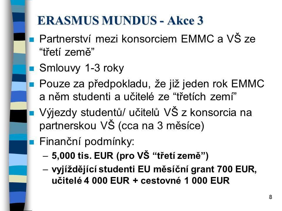8 ERASMUS MUNDUS - Akce 3 n Partnerství mezi konsorciem EMMC a VŠ ze třetí země n Smlouvy 1-3 roky n Pouze za předpokladu, že již jeden rok EMMC a něm studenti a učitelé ze třetích zemí n Výjezdy studentů/ učitelů VŠ z konsorcia na partnerskou VŠ (cca na 3 měsíce) n Finanční podmínky: –5,000 tis.