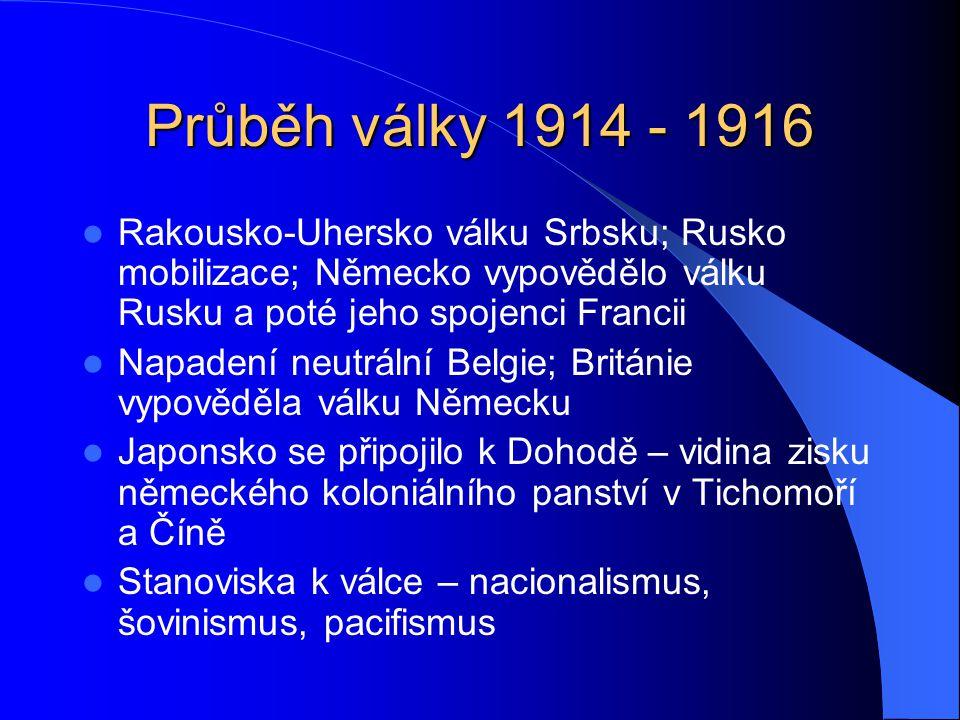 Průběh války 1914 - 1916 Rakousko-Uhersko válku Srbsku; Rusko mobilizace; Německo vypovědělo válku Rusku a poté jeho spojenci Francii Napadení neutrální Belgie; Británie vypověděla válku Německu Japonsko se připojilo k Dohodě – vidina zisku německého koloniálního panství v Tichomoří a Číně Stanoviska k válce – nacionalismus, šovinismus, pacifismus