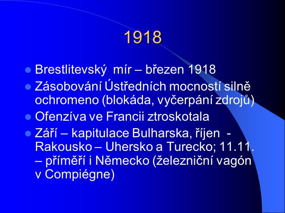 1918 Brestlitevský mír – březen 1918 Zásobování Ústředních mocností silně ochromeno (blokáda, vyčerpání zdrojů) Ofenzíva ve Francii ztroskotala Září – kapitulace Bulharska, říjen - Rakousko – Uhersko a Turecko; 11.11.