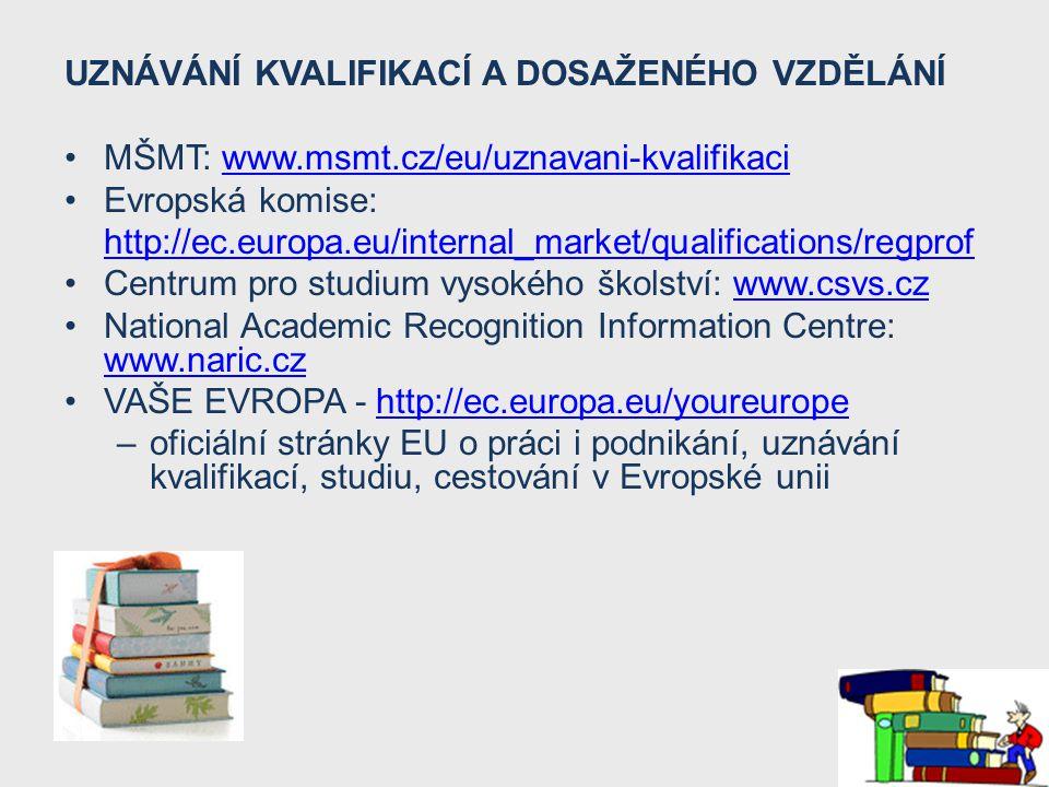 UZNÁVÁNÍ KVALIFIKACÍ A DOSAŽENÉHO VZDĚLÁNÍ MŠMT: www.msmt.cz/eu/uznavani-kvalifikaciwww.msmt.cz/eu/uznavani-kvalifikaci Evropská komise: http://ec.eur