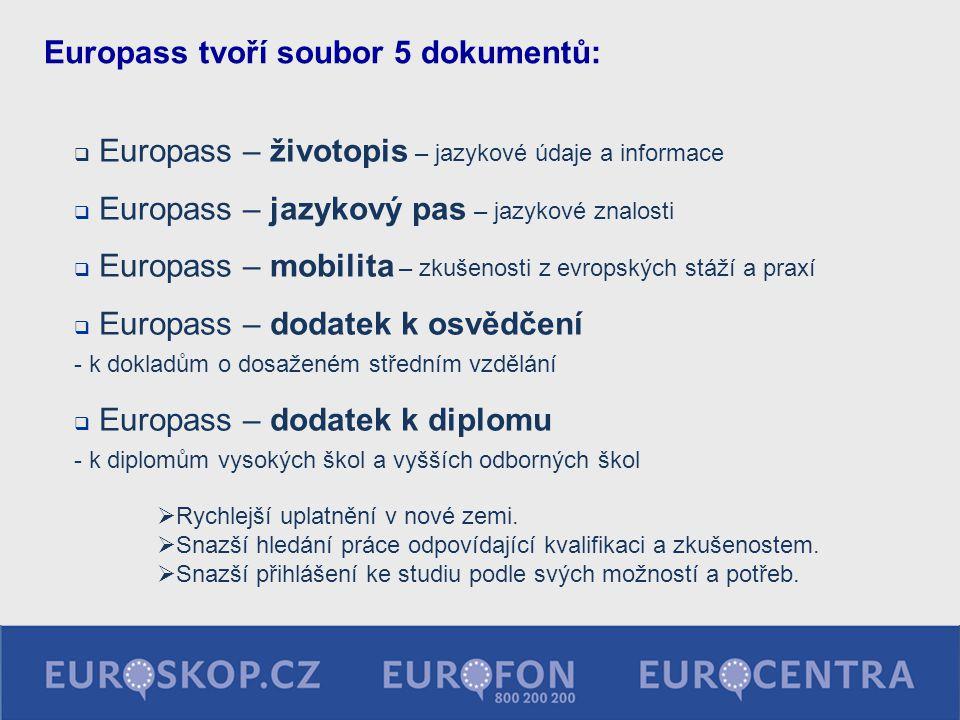  Europass – životopis – jazykové údaje a informace  Europass – jazykový pas – jazykové znalosti  Europass – mobilita – zkušenosti z evropských stáž
