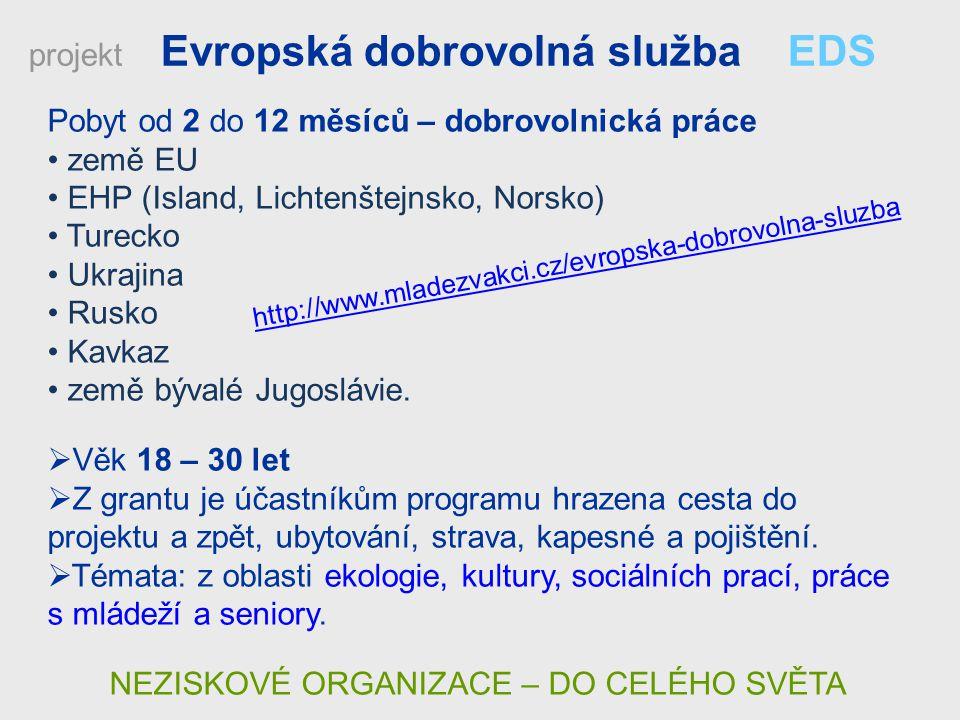 Pobyt od 2 do 12 měsíců – dobrovolnická práce země EU EHP (Island, Lichtenštejnsko, Norsko) Turecko Ukrajina Rusko Kavkaz země bývalé Jugoslávie.  Vě