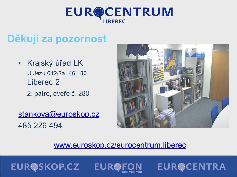 Děkuji za pozornost Krajský úřad LK U Jezu 642/2a, 461 80 Liberec 2 2. patro, dveře č. 280 stankova@euroskop.cz 485 226 494 www.euroskop.cz/eurocentru