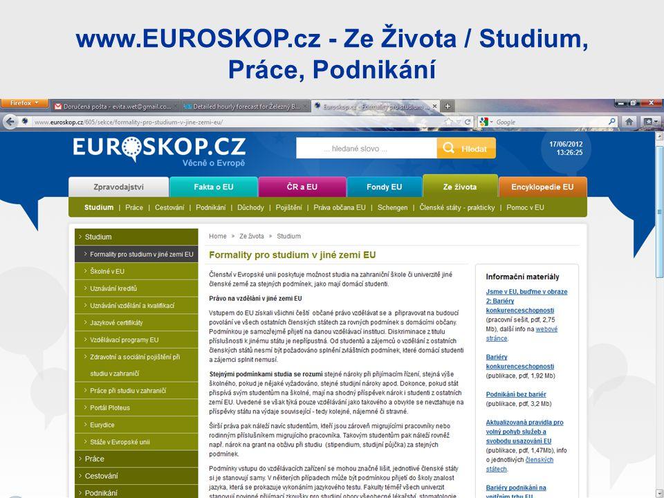 www.EUROSKOP.cz - Ze Života / Studium, Práce, Podnikání