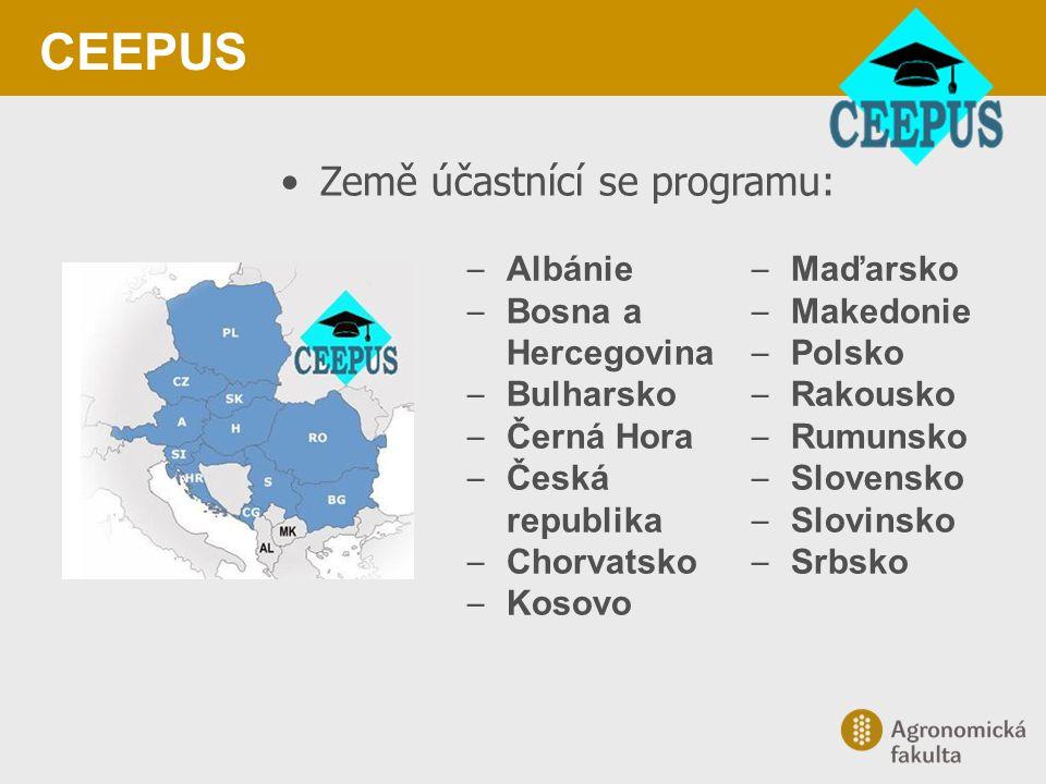 CEEPUS Země účastnící se programu: – Albánie – Bosna a Hercegovina – Bulharsko – Černá Hora – Česká republika – Chorvatsko – Kosovo – Maďarsko – Maked