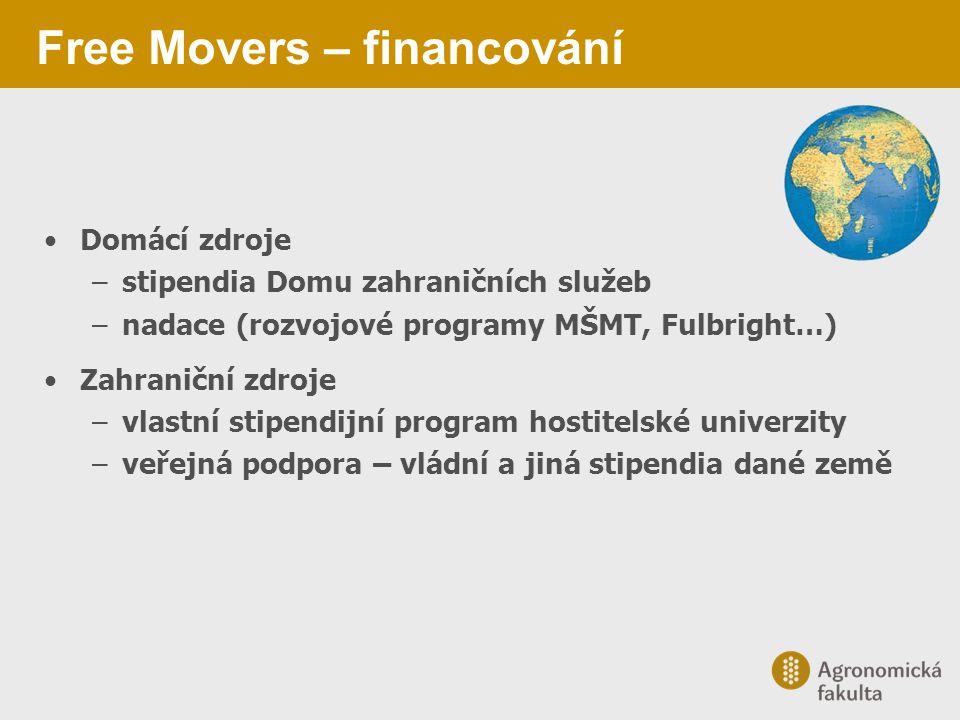 Free Movers – financování Domácí zdroje –stipendia Domu zahraničních služeb –nadace (rozvojové programy MŠMT, Fulbright…) Zahraniční zdroje –vlastní s