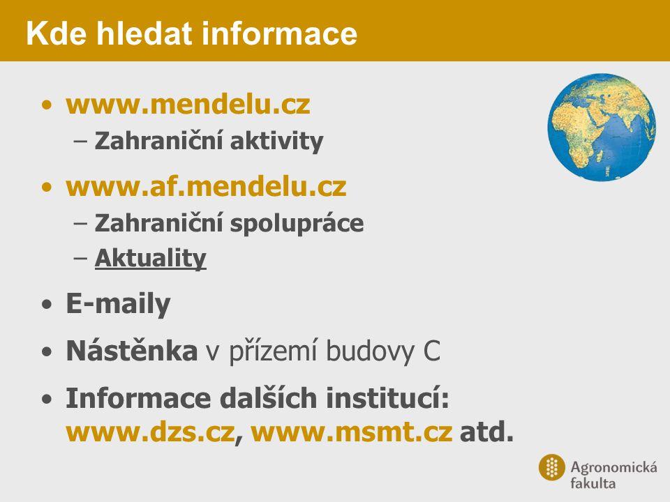 Kde hledat informace www.mendelu.cz –Zahraniční aktivity www.af.mendelu.cz –Zahraniční spolupráce –Aktuality E-maily Nástěnka v přízemí budovy C Infor