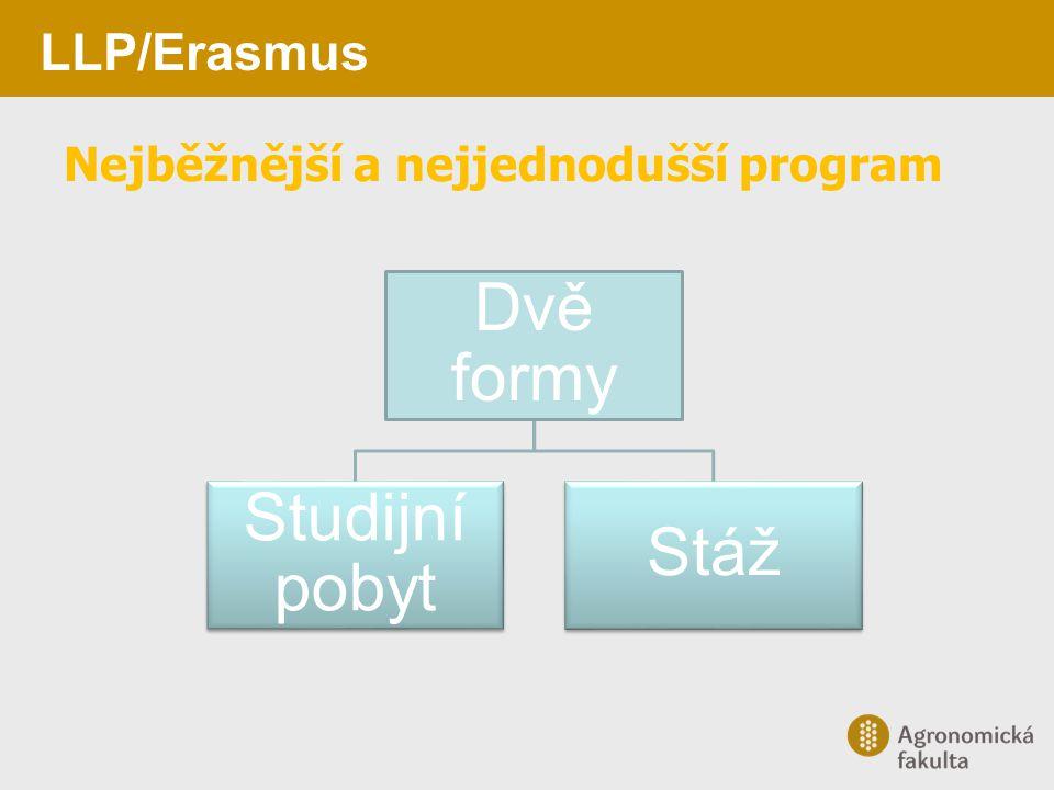 LLP/Erasmus Nejběžnější a nejjednodušší program Dvě formy Studijní pobyt Stáž