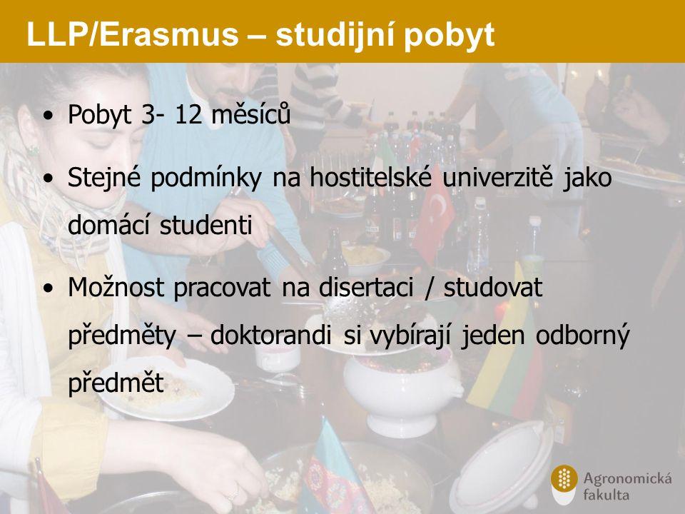 LLP/Erasmus – studijní pobyt Pobyt 3- 12 měsíců Stejné podmínky na hostitelské univerzitě jako domácí studenti Možnost pracovat na disertaci / studova