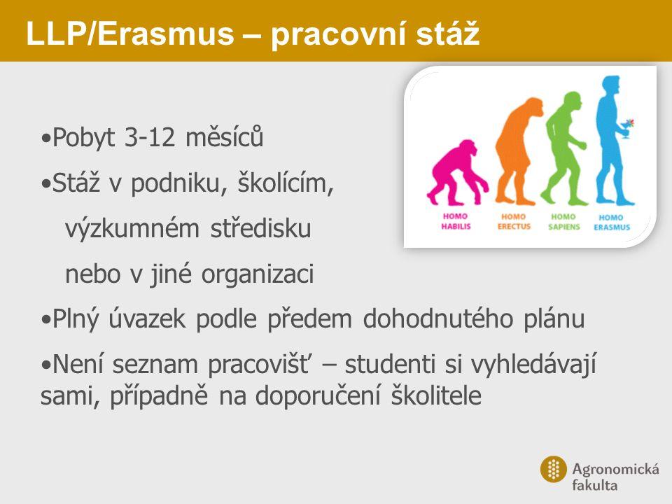 LLP/Erasmus – pracovní stáž Pobyt 3-12 měsíců Stáž v podniku, školícím, výzkumném středisku nebo v jiné organizaci Plný úvazek podle předem dohodnutéh