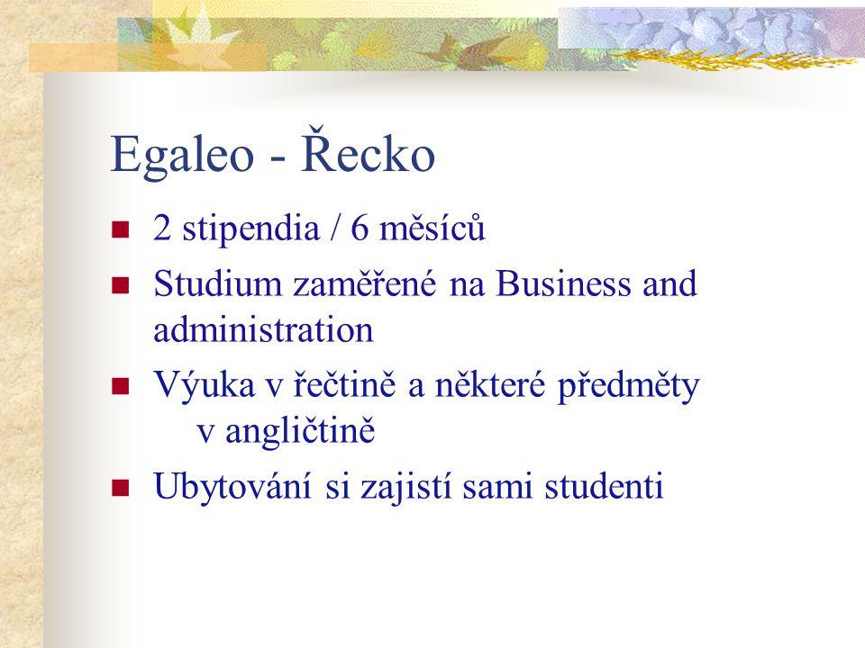 Egaleo - Řecko 2 stipendia / 6 měsíců Studium zaměřené na Business and administration Výuka v řečtině a některé předměty v angličtině Ubytování si zaj