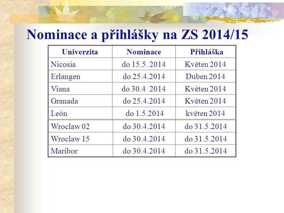 Nominace a přihlášky na ZS 2014/15 UniverzitaNominace Přihláška Nicosiado 15.5. 2014Květen 2014 Erlangendo 25.4.2014Duben 2014 Vianado 30.4 2014Květen