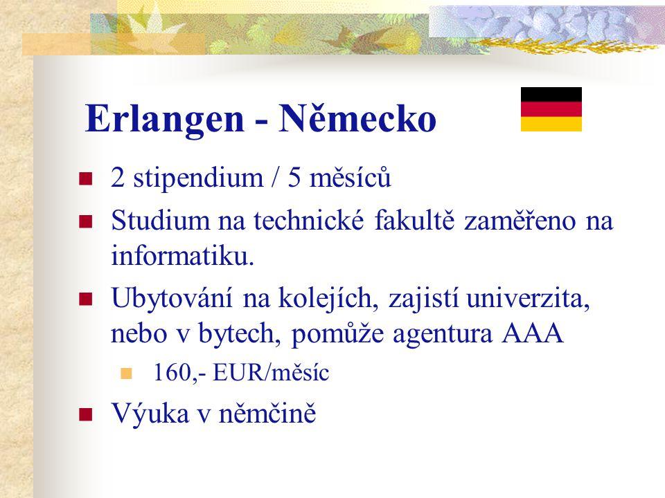 Erlangen - Německo 2 stipendium / 5 měsíců Studium na technické fakultě zaměřeno na informatiku. Ubytování na kolejích, zajistí univerzita, nebo v byt