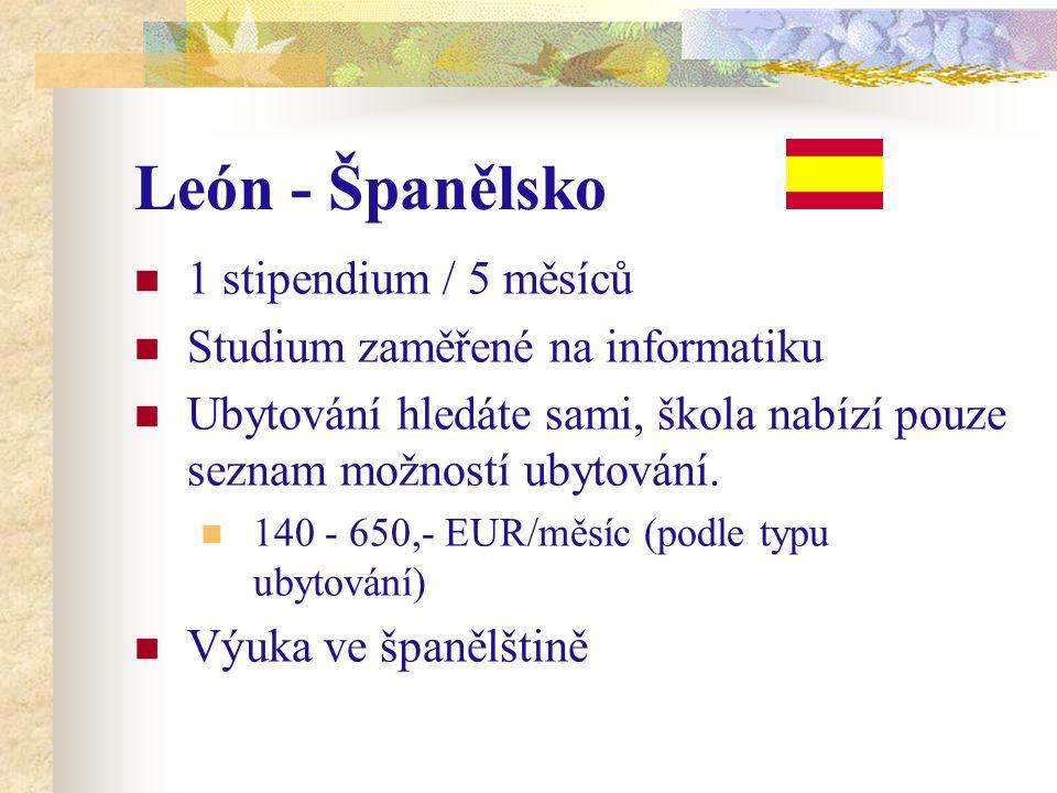 León - Španělsko 1 stipendium / 5 měsíců Studium zaměřené na informatiku Ubytování hledáte sami, škola nabízí pouze seznam možností ubytování. 140 - 6