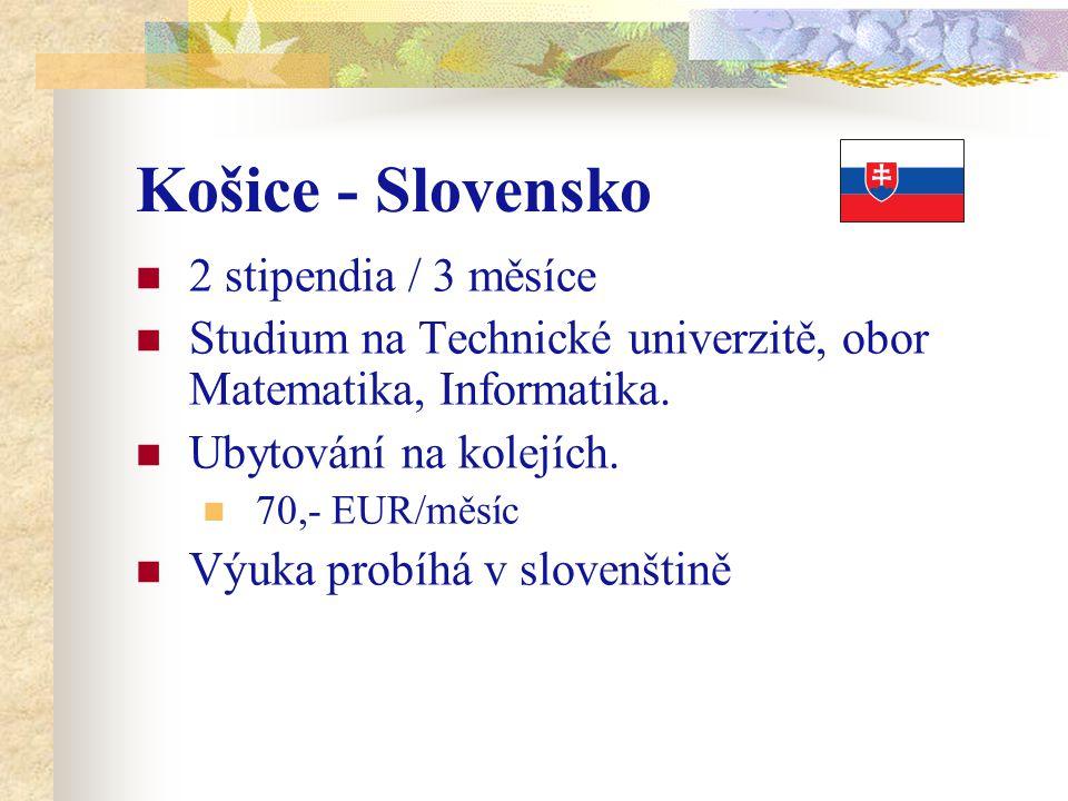 Košice - Slovensko 2 stipendia / 3 měsíce Studium na Technické univerzitě, obor Matematika, Informatika. Ubytování na kolejích. 70,- EUR/měsíc Výuka p