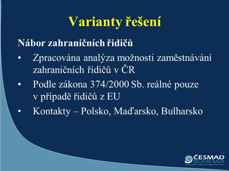 Varianty řešení Nábor zahraničních řidičů Zpracována analýza možnosti zaměstnávání zahraničních řidičů v ČR Podle zákona 374/2000 Sb.
