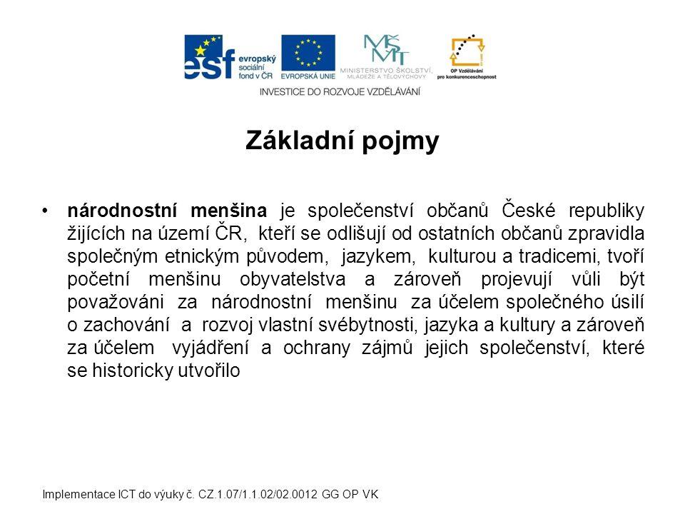 Základní pojmy příslušníkem národnostní menšiny je občan ČR, který se hlásí k jiné než české národnosti a projevuje přání být považován za příslušníka národnostní menšiny spolu s dalšími, kteří se hlásí ke stejné národnosti Implementace ICT do výuky č.