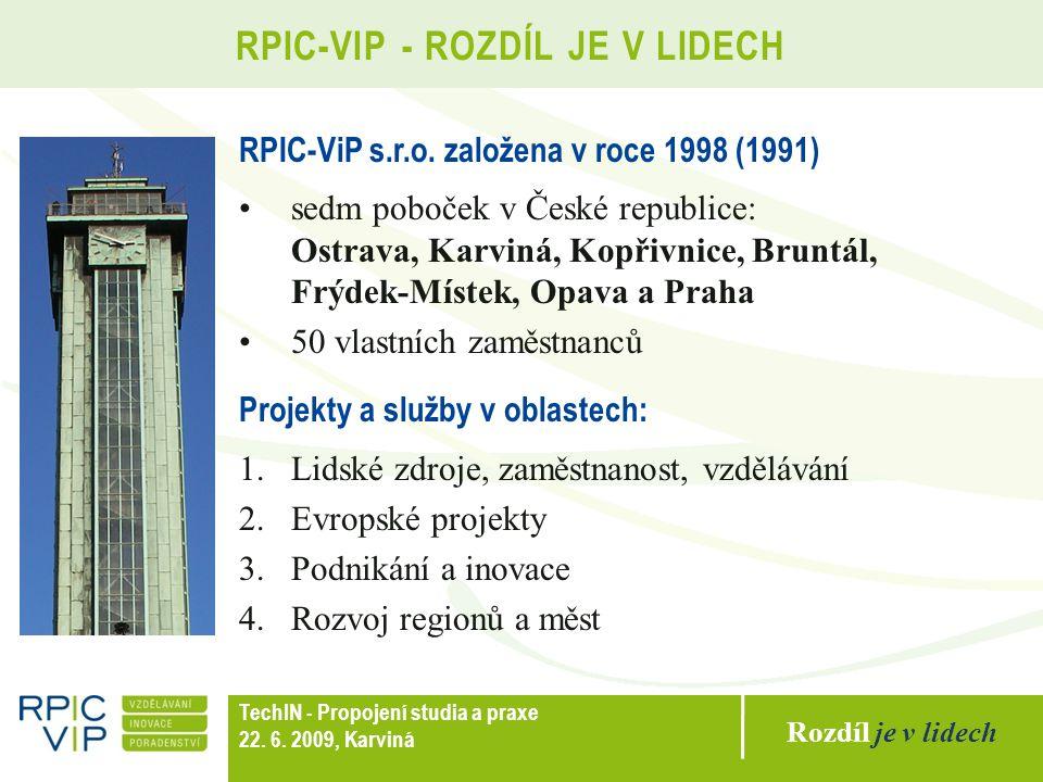 Rozdíl je v lidech TechIN - Propojení studia a praxe 22. 6. 2009, Karviná RPIC-VIP - ROZDÍL JE V LIDECH RPIC-ViP s.r.o. založena v roce 1998 (1991) se