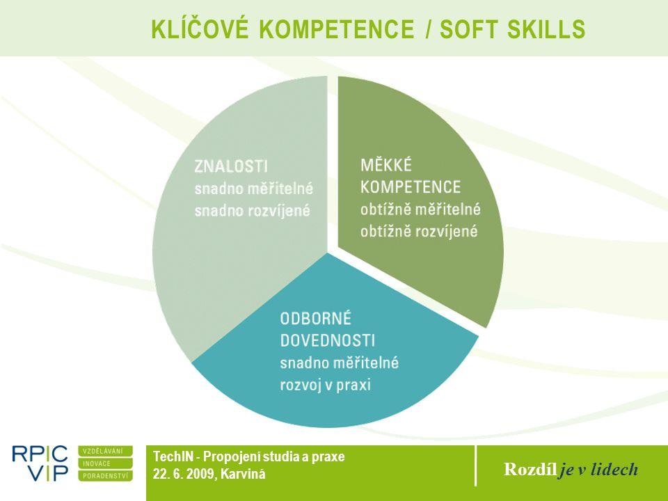 Rozdíl je v lidech TechIN - Propojení studia a praxe 22. 6. 2009, Karviná KLÍČOVÉ KOMPETENCE / SOFT SKILLS