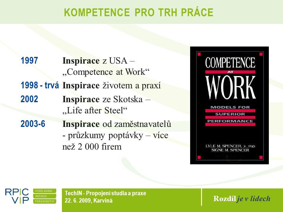 """Rozdíl je v lidech TechIN - Propojení studia a praxe 22. 6. 2009, Karviná KOMPETENCE PRO TRH PRÁCE 1997 Inspirace z USA – """"Competence at Work"""" 1998 -"""