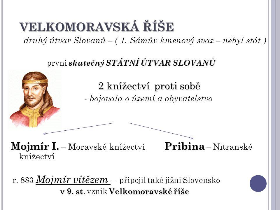 VELKOMORAVSKÁ ŘÍŠE druhý útvar Slovanů – ( 1. Sámův kmenový svaz – nebyl stát ) skutečný STÁTNÍ ÚTVAR SLOVANŮ první skutečný STÁTNÍ ÚTVAR SLOVANŮ 2 kn