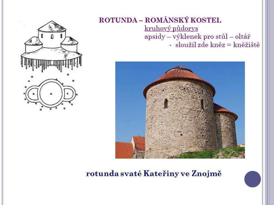ROTUNDA – ROMÁNSKÝ KOSTEL kruhový půdorys kruhový půdorys apsidy – výklenek pro stůl – oltář apsidy – výklenek pro stůl – oltář - sloužil zde kněz = k